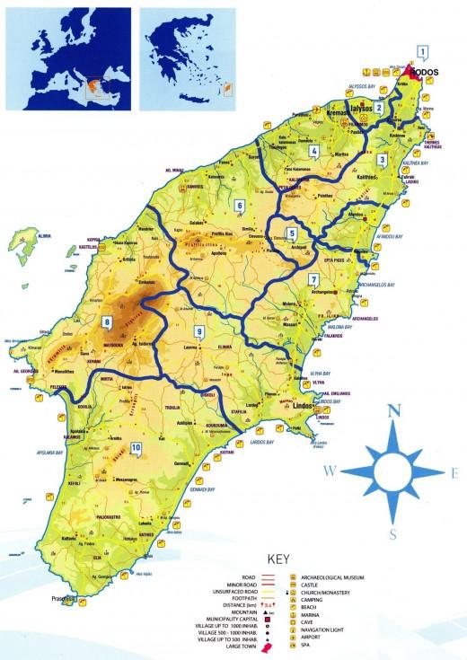 mapa Rhodosu
